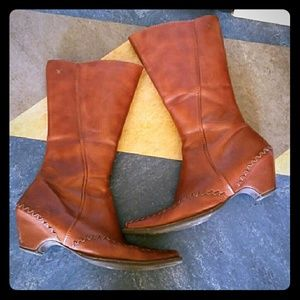 Calfskin leather mid-calf boots Sz 39